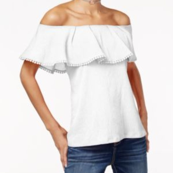 8993bc7a22298 Inc White Ruffled Off-the-shoulder top SZ L
